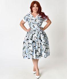 601b9812eb2 Unique Vintage Plus Size 1950s Style Light Blue   White Floral Waldorf Swing  Dress
