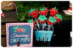 Strawberry Cake Pops at a Berry Bash with So Many CUTE Ideas via Kara's Party Ideas | Kara'sPartyIdeas.com #SummerSoiree #PartyIdeas #Supplies #berrybash #strawberryparty #strawberrycakepops