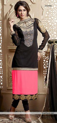 Glamorous Black & Pink Contrast Georgette Churidar Suit, Item Code: 21D1020, Price: Rs3,063,