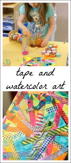 Colorful Tape and Watercolor Art for Kids Kids have so much fun working together on collaborative process art. This tape and watercolor art by kids turned out gorgeous, and the kids had a blast! Preschool Art Projects, Art Activities For Kids, Preschool Crafts, Art For Kids, Process Art Preschool, Kid Art, Kids Fun, Therapy Activities, Kindergarten Art