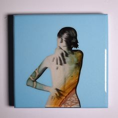 Figure Study III mixed media on wood  12x12in Arthur Brouthers