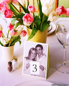 Photo Table Numbers - Help guests find their seats with whimsical tented cards featuring photos of the bride and groom. Take photographs of the two of you holding signs with table numbers; you can use different poses for each number. Diy Wedding Tent, Wedding Tent Decorations, Wedding Tips, Wedding Centerpieces, Wedding Day, Wedding Rehearsal, Rehearsal Dinners, Trendy Wedding, Wedding Reception