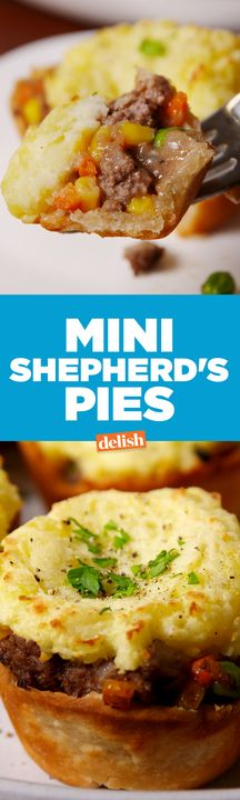 Mini Shepherd's Pies will satisfy all of your comfort food cravings. Get the recipe from Delish.com.