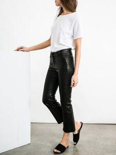 J BRAND | Selena Leather Mid-Rise Crop Bootcut in Black Leather | The UNDONE by J Brand
