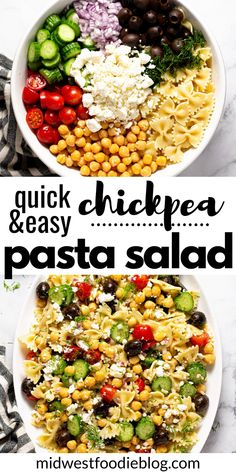 This vegetarian Chickpea Pasta Salad utilizes canned and fresh vegetables, tossed in a simple vinaigrette, then drizzled with a creamy yogurt sauce. Vegetarian Pasta Salad, Best Pasta Salad, Pasta Salad Recipes, Healthy Salad Recipes, Lunch Recipes, Vegetarian Recipes, Healthy Food, Fresh Vegetable Salad Recipes, Vegetable Pasta