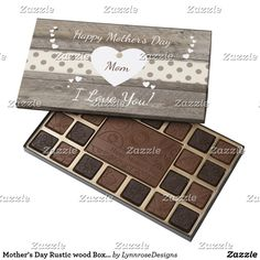 Mother's Day Rustic wood Box of Chocolates