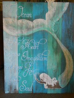 Mermaid on Reclaimed Barnwood Beach Glittered by tawnystreasures