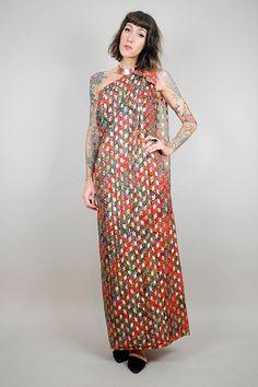 1960's Gold paisley Maxi sari dress // NOIROHIO VINTAGE