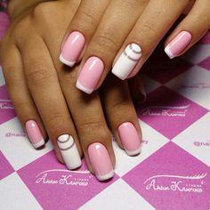 #nails #nailart #french #pink #white #design