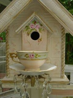 Bird house shabby chic! Water Or Seed in The Cup --- Beautiful... Luv