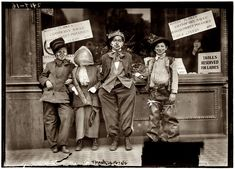 """November 1911. Before Halloween came into its own as a holiday in the US, there was """"Thanksgiving masking,"""" where kids would dress up and go door to door for apples, or """"scramble for pennies."""" - Shorpy Historical Photo Archive :: Tables for Ladies"""