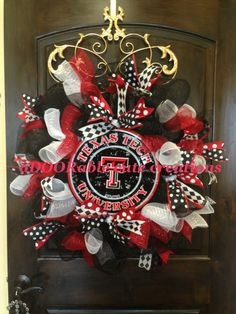 Texas Tech University Red Raiders Wreath created by aDOORable cute creations on Facebook - https://www.facebook.com/AdooRableCuteCreations?ref=hl