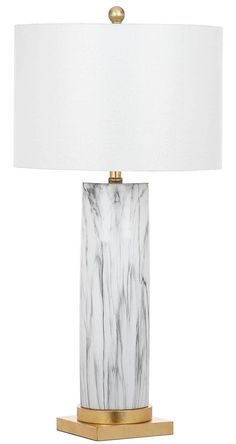 Sonia Faux Marble Table Lamp Black/White (Set of 2)
