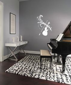 violin music notes wall decals wall vinyl decal interior home decor housewares art vinyl sticker l317 - Wall Vinyl Designs