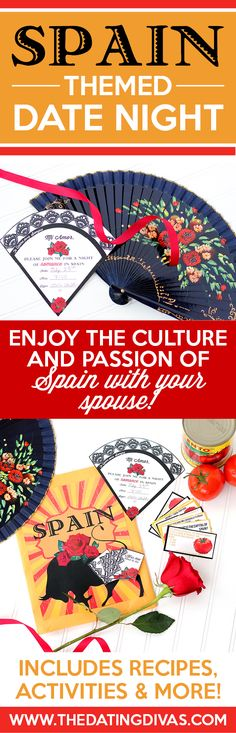 Fun printables for a Spanish Date Night including an invitation, recipe cards, actives, and MORE! They have 12 different countries to choose from too so you can travel the world by doing a different country each month. SUCH a fun idea and a romantic gift idea. From www.TheDatingDivas.com