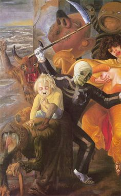 Otto Dix painted The Seven Deadly Sins in 1933. It is an allegorical painting that represented Germany's political situation at the time, and was painted immediately after the Nazis had Dix removed from his teaching position at the Dresden Art Academy.