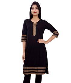 M&D black Cotton Woman's Kurti - M&D Kurtas & kurtis for women | buy women kurtas and kurtis online in indium