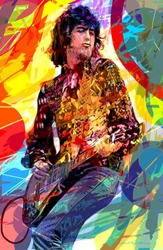 Jimmy Page Leds Lead by David Lloyd Glover ~ acrylics on plexiglass