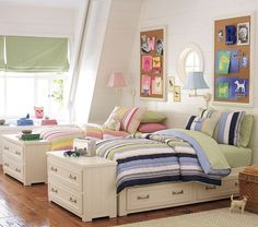 A simple shared room for boy and girl that can easily change colors when needed.