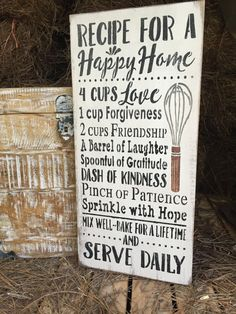 Rustic Wood Sign Recipe For A Happy Home. . . by OconeeSignShack