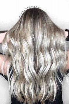 Hair Blonde Highlights Platinum Balayage Ideas For 2019 Platinum Silver Hair Color, Platinum Blonde Highlights, Hair Highlights, Blonde Hair Shades, Blonde Color, Hair Color 2017, Light Hair, Trendy Hairstyles, Hairstyles Haircuts