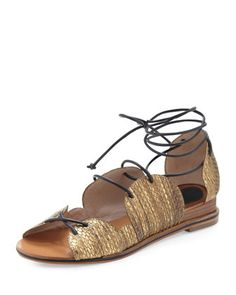 Penny Snake-Print Lace-Up Sandal, Gold by 10 Crosby Derek Lam at Neiman Marcus.