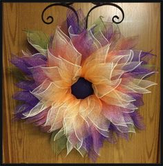 Deco Mesh Flower Wreath by ANobleTouch on Etsy