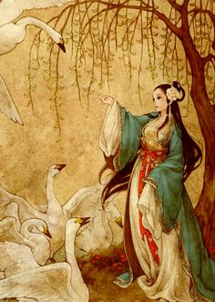 Wild swan Chinese maiden illustration
