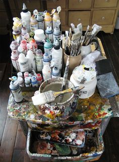 Golden Fluids on painting table in Holly Farrell's studio.    Golden fluid acrylics at Jackson's: http://www.jacksonsart.com/Brands-A-Z_All_Brands-Golden-Golden_Fluid_Acrylic_Colour/c2200_1044_682_123/index.html