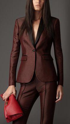 Burberry Satin Trim Tailored Jacket in Red (alizarin crimson)   Lyst