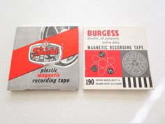 Shield Magnetic Recording Tape Set 2 Used Recording Tapes Reel to Reel Burgess Vintage Records, Magnets, Tape, Boxes, Ebay, Electronics, Crates, Duck Tape, Box