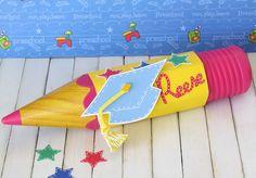 Altered plastic pencil for Preschool graduation gift using Cricut Locker Talk