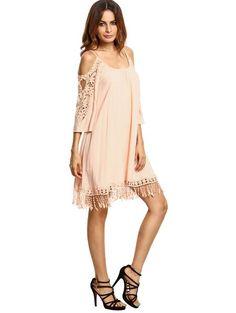 Apricot Crochet Lace Sleeve Tassel Dress