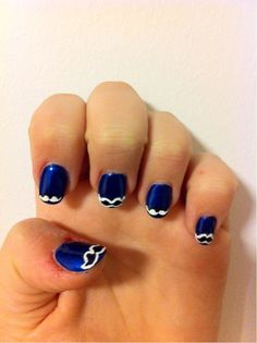 with these dark blue nails tipped with MUSTACHES, you will definitely look beautiful in blue! xox