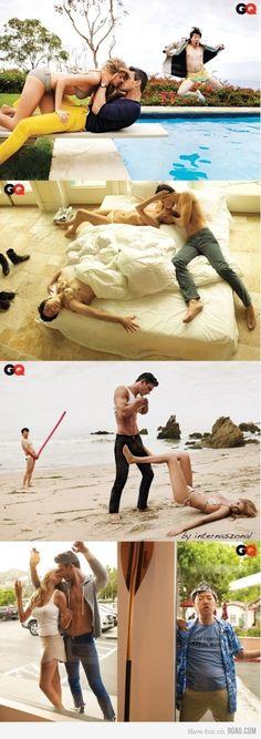 GQ photoshoot photobomb, weird, funny, humor, Asian, fashion shoot, layout, spread, glam, high, trendy, meme, magazine