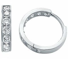 14k White Gold Classic Round Hoop Huggie Earrings New Sonia Jewels. $144.00. Save 38% Off!