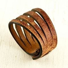Brown Leather Cuff Wristband Fall Autumn Fashion by rainwheel