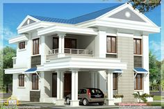 Blue roof home design by r it designers kannur kerala - Designing houses