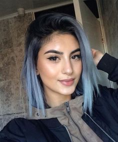 45 Catchy Hair Color Ideas for Brunettes to Try this Fall - Hair - hair Light Blue Hair, Green Hair, Silver Blue Hair, Black Hair, Pastel Blue Hair, Icy Blue Hair, Denim Blue Hair, Beautiful Hair Color, Cool Hair Color
