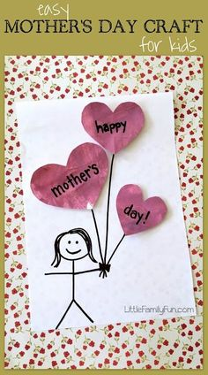 Easy Mothers Day Craft for Kids! So cute! Easy Mothers Day Craft for Kids! So cute! Easy Mother's Day Crafts, Mothers Day Crafts For Kids, Fathers Day Crafts, Mothers Day Cards, Happy Mothers Day, Diy For Kids, Mother Day Gifts, Kid Crafts, Mothers Day Gifts Easy