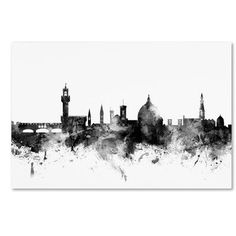 "Latitude Run Florence Italy Skyline B&W Graphic Art on Wrapped Canvas Size: 12"" H x 19"" W x 2"" D"