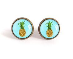 Pineapple stud earrings fruit image glass cabochon post by BakGuri