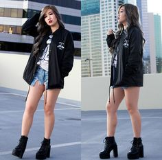Get this look: http://lb.nu/look/8564159  More looks by Caitlinaomi: http://lb.nu/caitlinaomi  Items in this look:  Nys Collection Eyewear Sunglasses, Sketchy Tank Windbreaker, Wego Baseball Tee, American Eagle Outfitters Shorts, Platforms   #gothic #grunge #street #tokyo #edgy #streetwear #harajuku #asian #punk