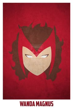 The Scarlett Witch Minimalist Comic Book Portrait by Artist Andres Romero