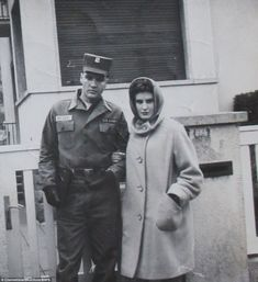 Elvis is pictured with an English teenager, known only as Frances, in front of his rented house at Goethestraße 14 in Bad Nauheim, Germany in 1959. She made a scrapbook with 15 photos - six of which are signed by Elvis. Frances had been in Bad Nauheim on a school exchange visit and liked the place so much she decided to return to the town and work as a chambermaid for the summer holidays in 1959.