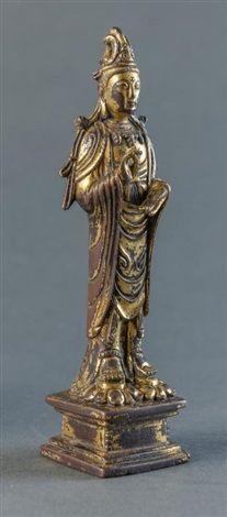 辽代 铜鎏金观音<br/>Liao Dynasty - A Gilt-Bronze QuanYin