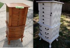 diy jewelery armoire I have one of these oak jewelry armoires and it is about to get a makeover! Jewelry Box Makeover, Armoire Makeover, Furniture Makeover, Armoire Redo, Furniture Projects, Furniture Making, Home Projects, Diy Furniture, Chevron Furniture