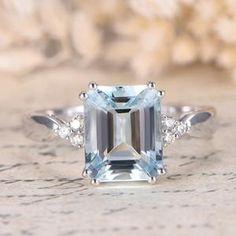 Halo Aquamarine Ring 6x8mm Emerald Cut Aquamarine Ring Solid | Etsy Diamond Bands, Diamond Wedding Bands, Emerald Cut Aquamarine Ring, Vintage Rose Gold, Sapphire Wedding, Wedding Rings For Women, Rose Gold Engagement Ring, White Gold Rings, Betta