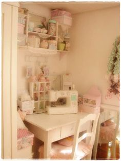 gorgeous shabby chic sewing room. How I can dream ... This is beautiful.