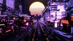 In this demo we were inspired by cyberpunk 2077 art style. You can build cyberpunk worlds with Unity 3D and the Dark City assets. I created the synthwave sun in photoshop. I bult the scene in Unity 3D.